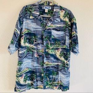 Vintage Hawaiian Print Button Down Dad Shirt